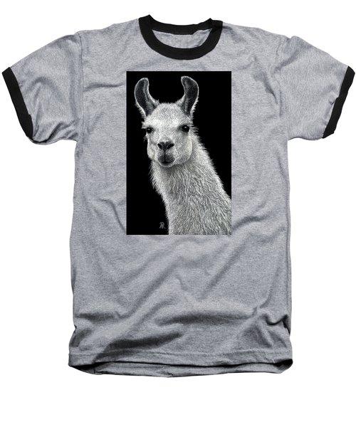 White Llama Baseball T-Shirt