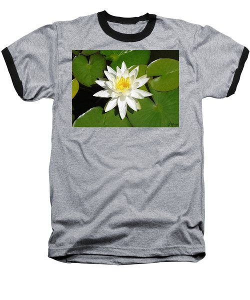 White Lotus 1 Baseball T-Shirt by Ellen Henneke