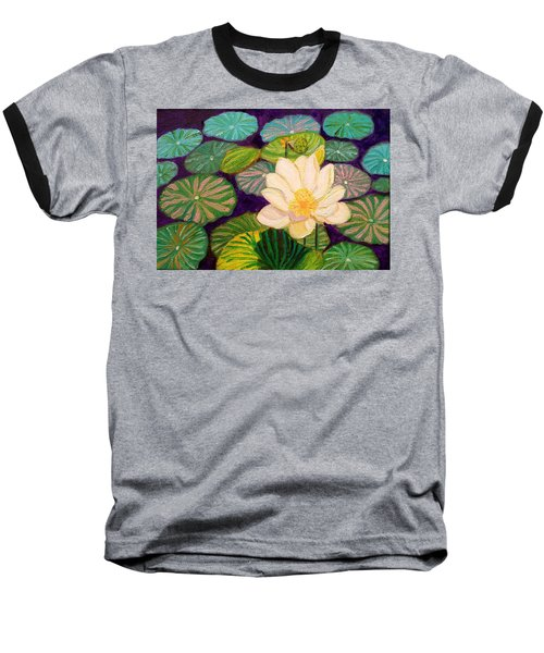 White Lotus Flower Baseball T-Shirt