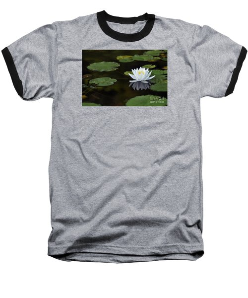 Baseball T-Shirt featuring the photograph White Lotus Lily Flower And Lily Pad by Glenn Gordon