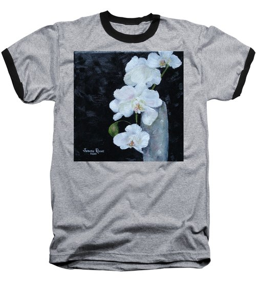 White Orchid Baseball T-Shirt by Judith Rhue