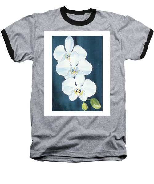 White Orchids Baseball T-Shirt by C Sitton