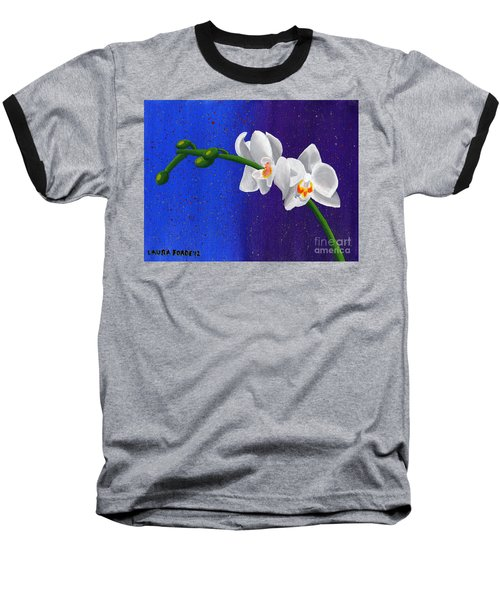 White Orchids Baseball T-Shirt by Laura Forde