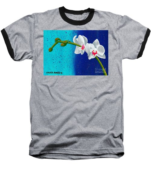 White Orchids On Blue Baseball T-Shirt by Laura Forde