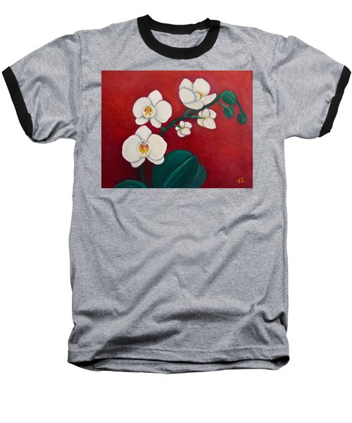Baseball T-Shirt featuring the painting White Orchids by Victoria Lakes