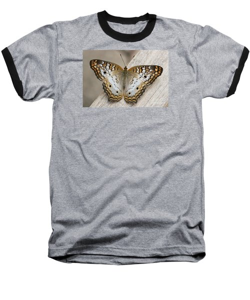 White Peacock Butterfly Baseball T-Shirt by Judy Whitton