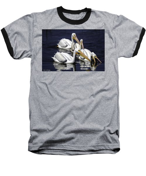 White Pelicans Fishing Baseball T-Shirt