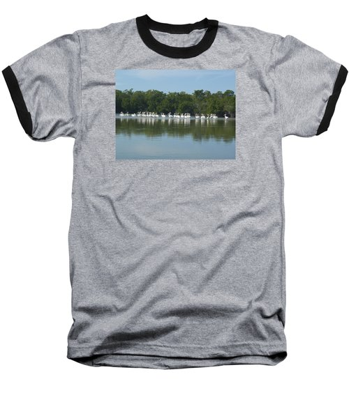 Baseball T-Shirt featuring the photograph White Pelicans by Robert Nickologianis