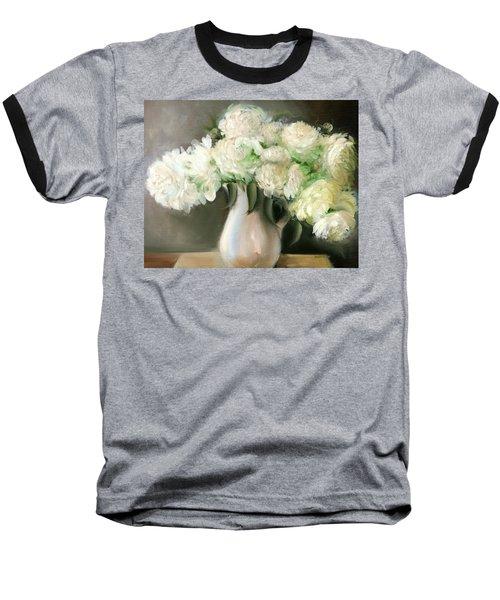 White Peonies Baseball T-Shirt