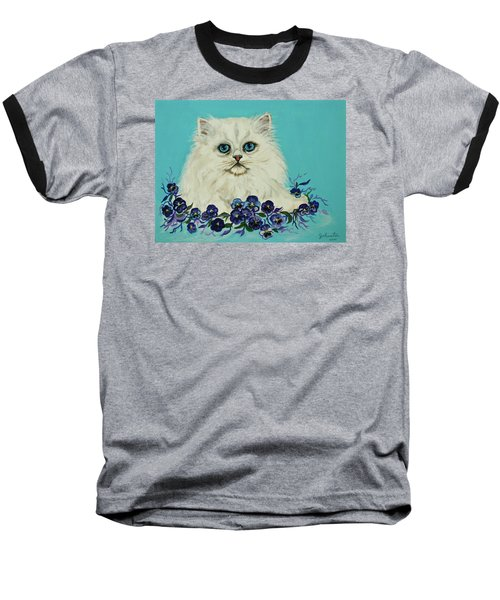 Baseball T-Shirt featuring the painting White Persian In Pansy Patch Original Forsale by Bob and Nadine Johnston