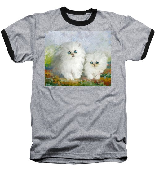 White Persian Kittens  Baseball T-Shirt by Catf