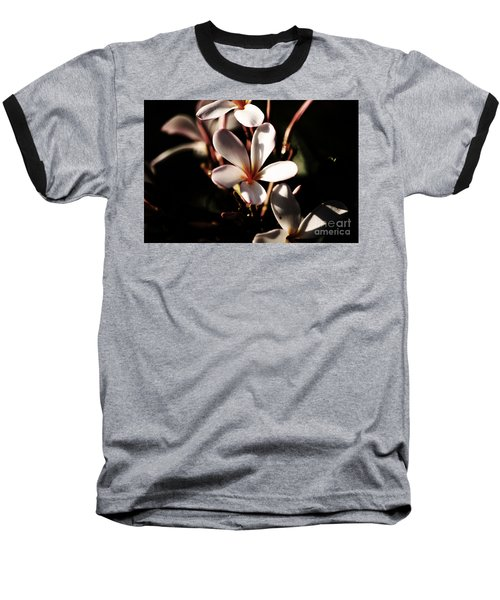 White Plumeria Baseball T-Shirt by Angela DeFrias