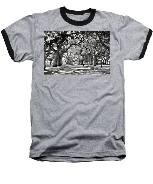 White Point Gardens At Battery Park Charleston Sc Black And White Baseball T-Shirt
