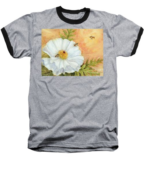 White Poppy And Bees Baseball T-Shirt