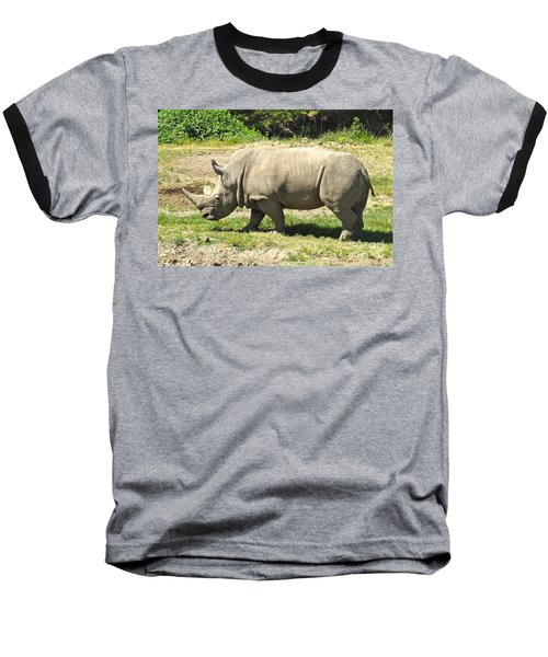 White Rhinoceros Grazing Baseball T-Shirt