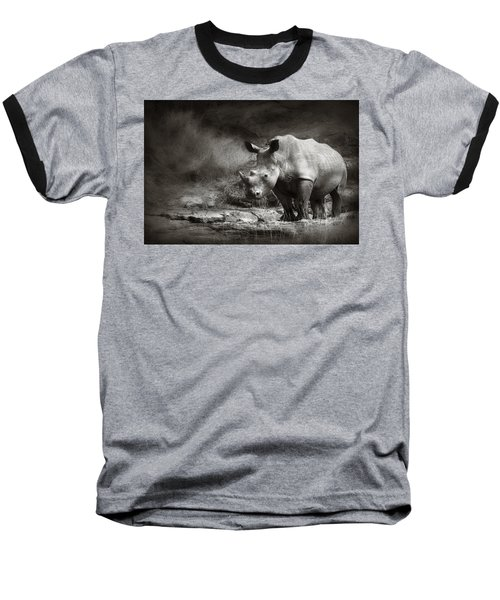 White Rhinoceros Baseball T-Shirt