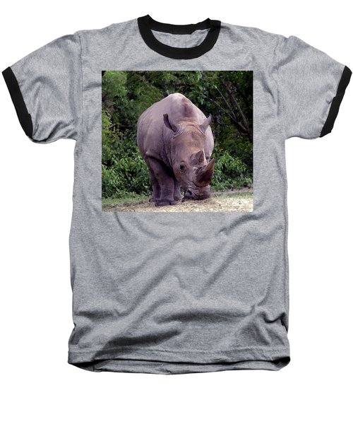 White Rhinoceros Water Coloring Baseball T-Shirt