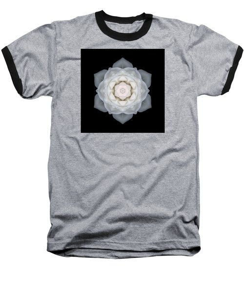 White Rose I Flower Mandala Baseball T-Shirt by David J Bookbinder