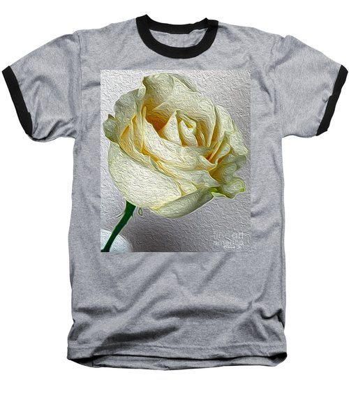 Baseball T-Shirt featuring the photograph White Rose In Oil Effect by Nina Silver