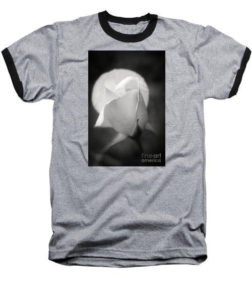 White Rose Moonlight Glow - Black And White Flower Photography Baseball T-Shirt by Ella Kaye Dickey