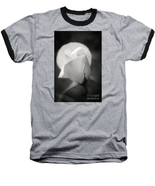 White Rose Moonlight Glow - Black And White Flower Photography Baseball T-Shirt