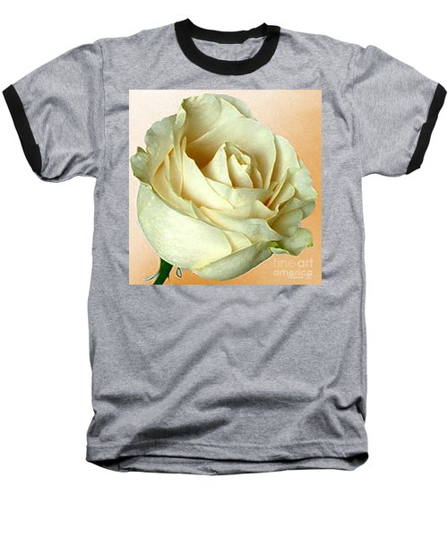 Baseball T-Shirt featuring the photograph White Rose On Sepia by Nina Silver