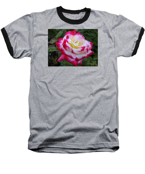 White Rose With Pink Texture Hybrid Baseball T-Shirt