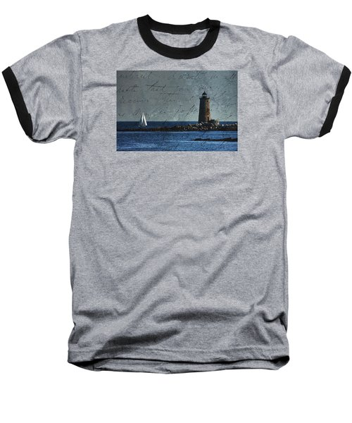 Baseball T-Shirt featuring the photograph White Sails On Blue  by Jeff Folger