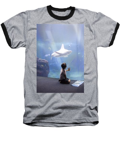 White Shark And Young Boy Baseball T-Shirt