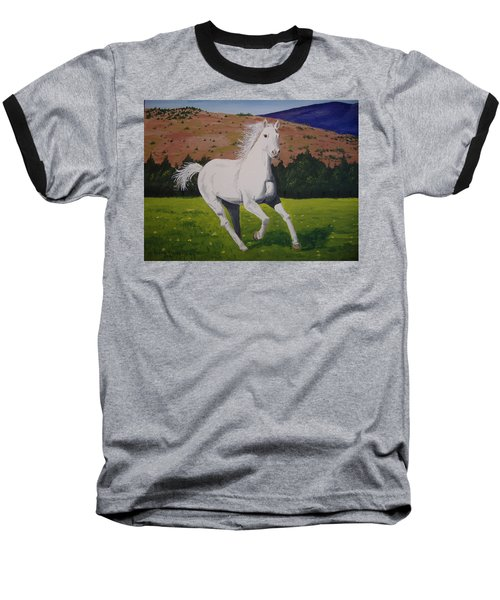 Baseball T-Shirt featuring the painting White Stallion by Norm Starks