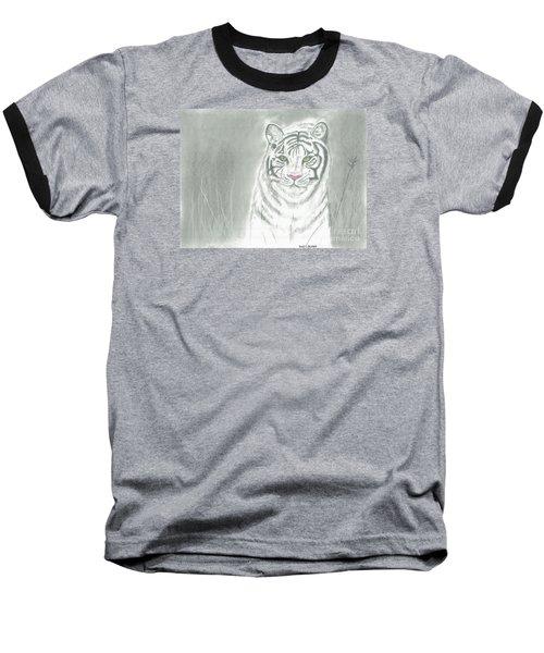 White Tiger Baseball T-Shirt by David Jackson