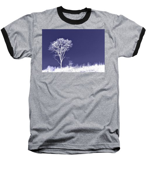 White Tree - Blue Sky - Silver Stars Baseball T-Shirt