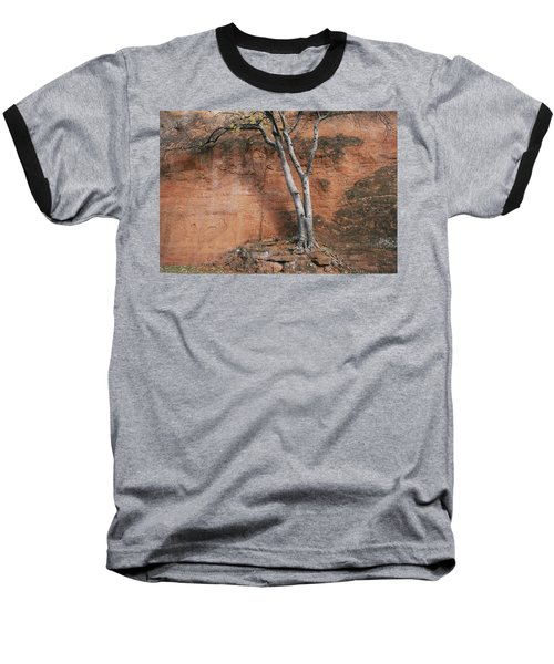 White Tree And Red Rock Face Baseball T-Shirt