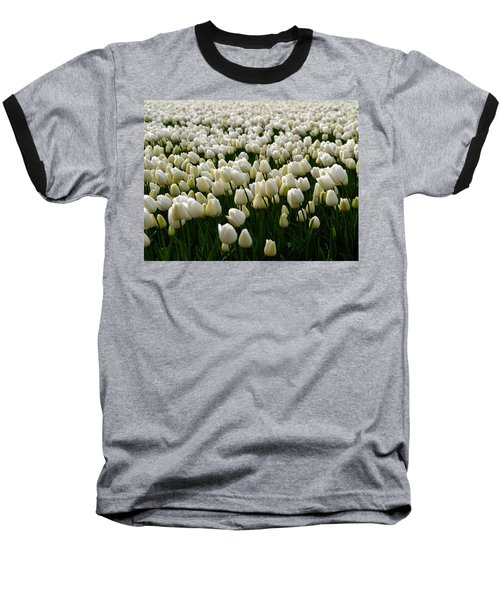 White Tulip Field  Baseball T-Shirt