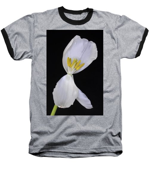White Tulip On Black Baseball T-Shirt