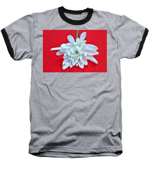 White Flower On Bright Red Background Baseball T-Shirt