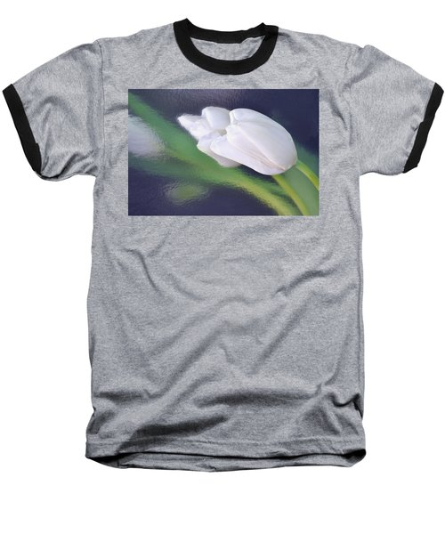 White Tulip Reflected In Dark Blue Water Baseball T-Shirt