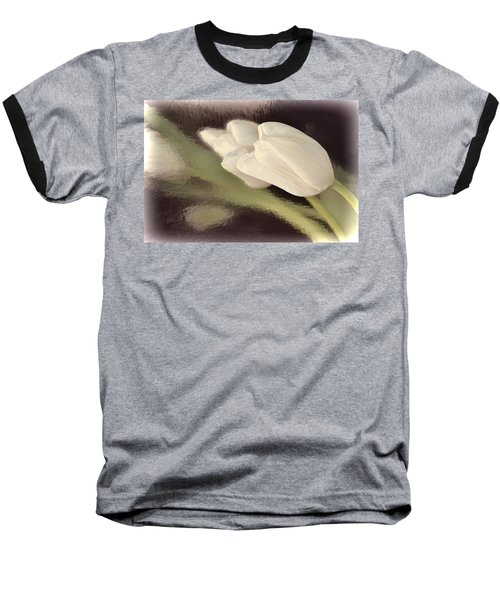 White Tulip Reflected In Misty Water Baseball T-Shirt
