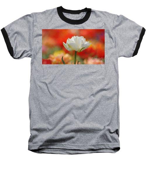 White Tulip Weisse Gefuellte Tulpe Baseball T-Shirt