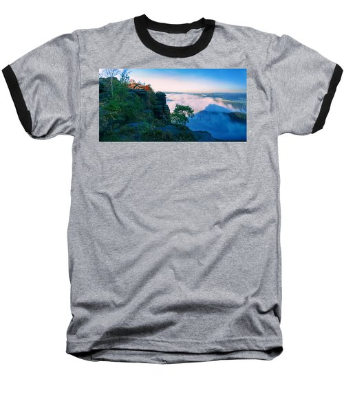 White Wafts Of Mist Around The Lilienstein Baseball T-Shirt