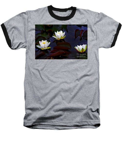 Baseball T-Shirt featuring the photograph White Water Lilies by Nina Ficur Feenan