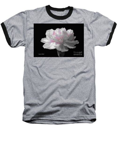 Baseball T-Shirt featuring the digital art White With Pink Carnation by Jeannie Rhode