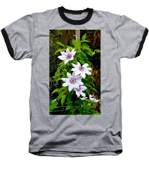 White With Purple Flowers 2 Baseball T-Shirt