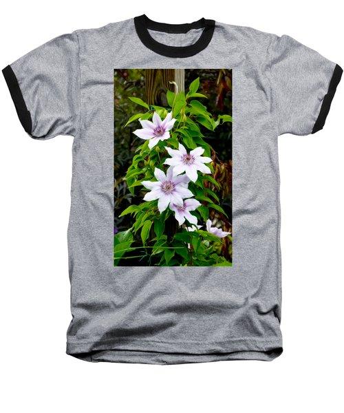 White With Purple Flowers 2 Baseball T-Shirt