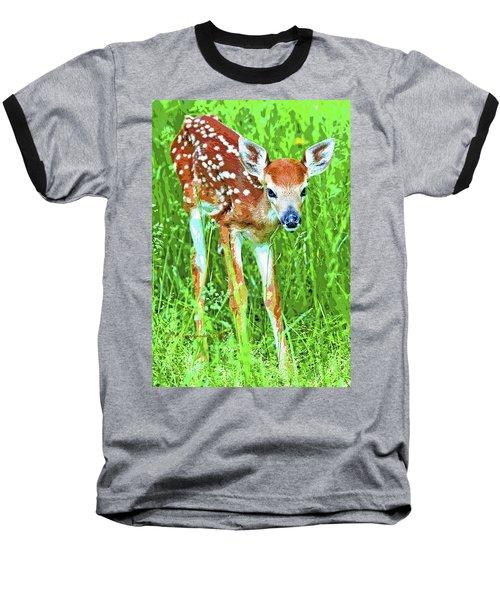 Whitetailed Deer Fawn Digital Image Baseball T-Shirt