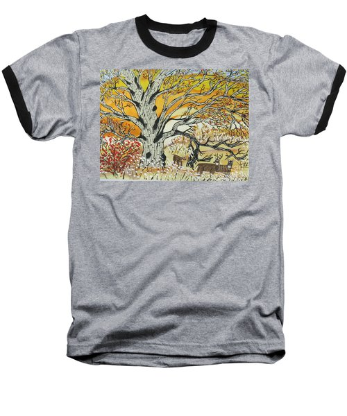 Baseball T-Shirt featuring the painting Whitetails And White Oak Tree by Jeffrey Koss