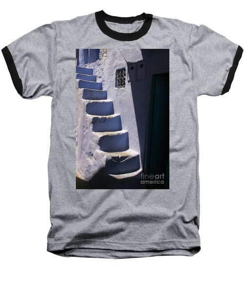 Baseball T-Shirt featuring the photograph Whitewashed Steps In The Medina Of Asilah On Northwest Tip Of Atlantic Coast Of Morocco by Ralph A  Ledergerber-Photography