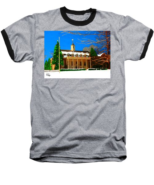 Whittle Hall At Christmas Baseball T-Shirt by Bruce Nutting