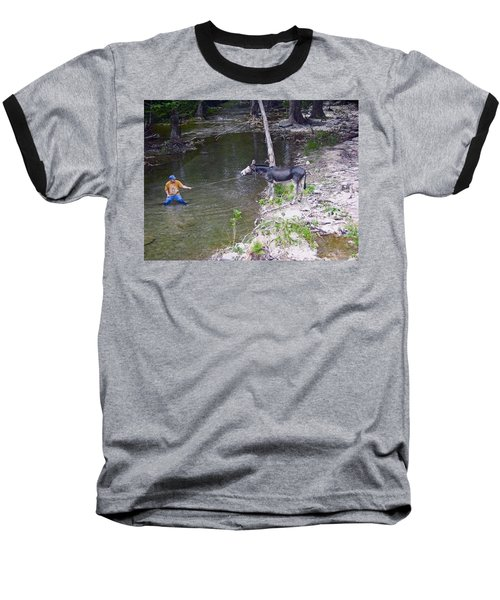 Baseball T-Shirt featuring the photograph Who Is More Stubborn by John Glass