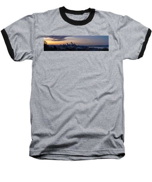 Wide Seattle Morning Skyline Baseball T-Shirt by Mike Reid